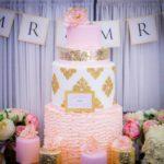Tort ślubny piętrowy #róża #złoty